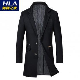 海澜之家夹棉加厚79%羊毛呢大衣西装中长款外套男装