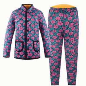 冬中老年女加厚加绒棉袄棉裤套装
