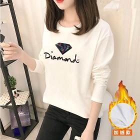 2018秋冬季t恤女长袖圆领上衣韩版修身保暖打底衫
