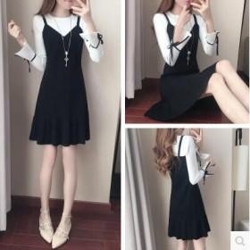 秋冬新款韩版修身荷叶边鱼尾裙小清新假两件套装连衣裙