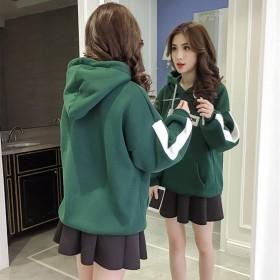 韩版ins秋冬款卫衣bf风加绒连帽显瘦时尚套头上衣