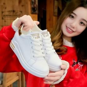 内增高小白鞋女秋冬季女百搭韩版厚底加绒运动休闲鞋女