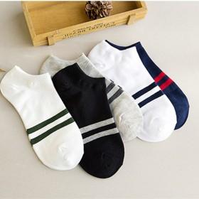 新款男士船袜 男四季短筒全棉袜男袜子条纹浅口隐形袜