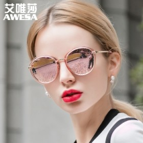太阳镜女轻盈复古炫彩膜潮墨镜驾驶镜偏光眼镜圆脸