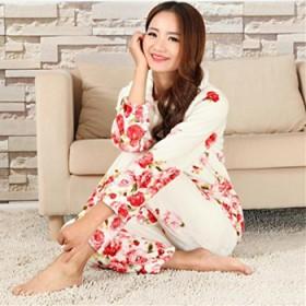 睡衣女秋冬款加厚冬季花色法兰绒套装保暖大码