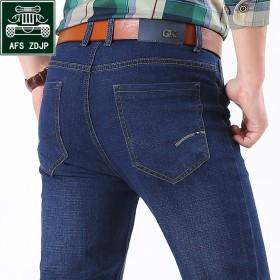 战地吉普男士牛仔裤舒适弹力秋季新款长裤子修身直筒裤