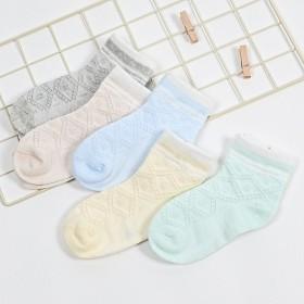 秋冬男女童袜子中筒棉袜儿童袜透气菱形网眼薄款透气童