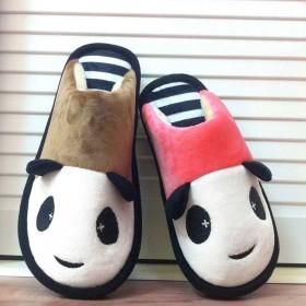 可爱棉拖鞋女秋冬季熊猫情侣男家居室内卡通儿童亲子厚