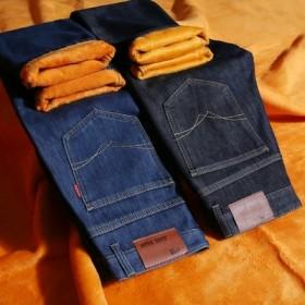加绒牛仔裤男2018年冬季新款保暖加厚长裤直筒裤