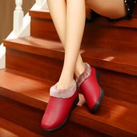 冬季妈妈保暖皮面棉鞋女士厚底防滑毛绒拖鞋中老年