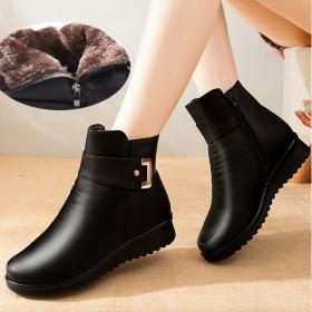 冬季妈妈鞋棉鞋加绒保暖中年短靴中老年女鞋老人平底防