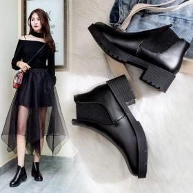 短靴秋冬款女鞋韩版粗跟中跟鞋百搭短筒靴切尔西靴女靴