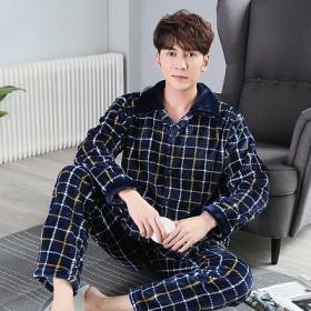 法兰绒睡衣套装男士长袖加厚加绒大码宽松外穿居家服