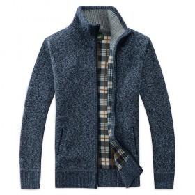 秋冬季男士针织开衫外套男青年毛衣拉链立领宽松上衣