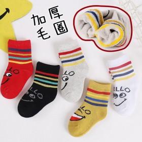 5双装儿童袜加绒加厚冬保暖毛圈女童男童宝宝袜