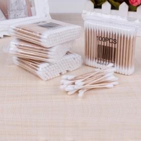 100支袋桦木棒双头棉签 卫生棉棒美容棒 化妆棉签