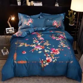 秋冬新品全棉斜纹四件套纯棉大阪花被套床单款床上用品