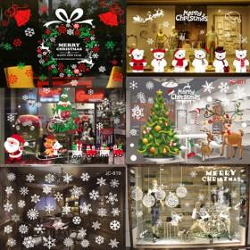 圣诞场景布置圣诞雪人老人静电玻璃贴纸商场橱窗贴画