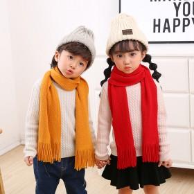 儿童围巾男女童秋冬保暖儿童围脖加厚针织围巾韩版纯色