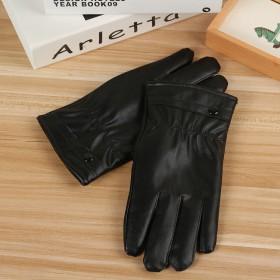 时尚保暖触屏手套加厚加绒秋冬款男女士触屏pu手套