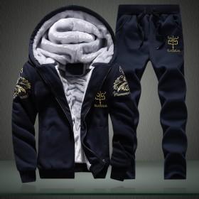 两件套冬季加绒加厚套装男外套长裤加毛休闲运动服
