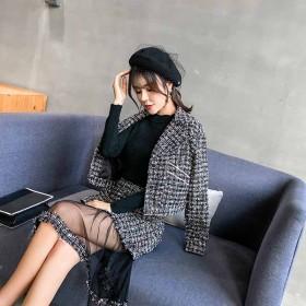 秋冬季短外套半身裙套装网纱韩版时尚两件套女