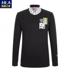 海澜之家男士长袖假两件加绒加厚针织打底衫青年T恤潮
