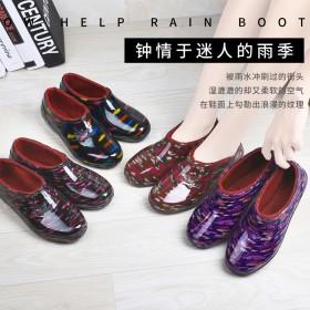 加绒加棉浅口雨鞋雨靴女式低帮短筒水鞋防滑防水鞋