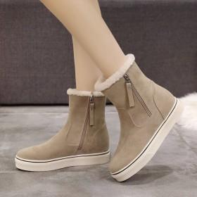 冬季雪地靴女皮毛一体短靴加厚保暖棉鞋短靴
