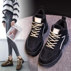 厚底休闲鞋女加绒冬季新款学生百搭平底黑色运动鞋女鞋