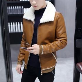 加绒皮衣男青年羊羔绒翻领韩版修身时尚加厚毛领夹克
