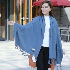 大红羊绒围巾冬季长款加厚百搭羊绒披肩男女通用围脖