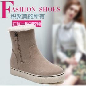 冬季雪地靴女鞋皮毛一体短靴加厚加绒保暖学生棉鞋