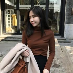 元熙秋冬新款纯色半高领加绒长袖T恤女修身打底衫堆