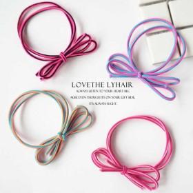 新款蝴蝶结发绳二合一皮筋混色头绳简约时尚手工编织