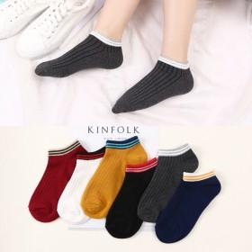 三条杠条纹女针织袜日系全棉船袜浅口隐形抽条袜子女夏