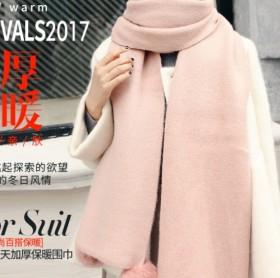 新款纯色可爱百搭针织毛线长款简约兔毛球围巾女冬季