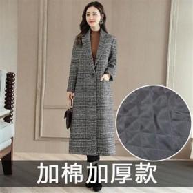 【加棉可穿160斤】千鸟格子毛呢大衣中长款毛呢外套