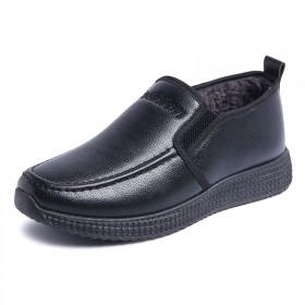 中老年棉鞋男加绒保暖爸爸鞋冬季休闲套脚防滑PU皮革