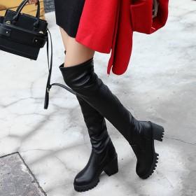 2018秋冬季新款性感过膝长靴子中跟皮面长筒靴女鞋