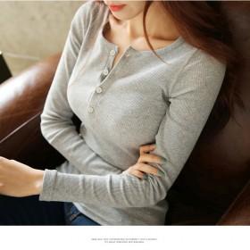 女装纽扣螺纹纯色长袖t恤修身韩国新款大码上衣