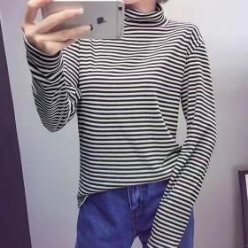 打底衫女2018冬季加绒加厚百搭长袖高领黑白条纹