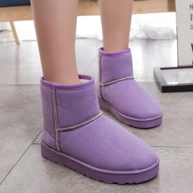 2018韩版雪地靴保暖加绒女短靴秋冬季女鞋短筒学生