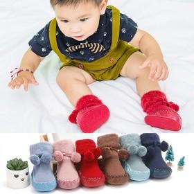两双秋冬新款童鞋加厚地板鞋袜加绒纯色婴儿学步袜鞋