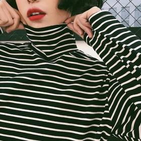 新款百搭 宽松韩版黑白条纹t恤高领长袖打底衫女上衣