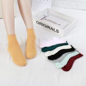 韩版袜子糖果色卷边堆堆女袜 松口纯色中筒袜彩色女低