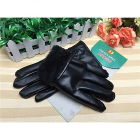男冬天手套保暖加绒手套 骑车加厚PU皮棉手套