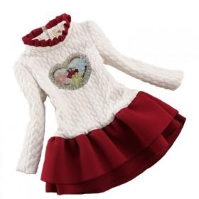 女童加绒连衣裙秋冬韩版保暖儿童冬裙女加厚公主裙子