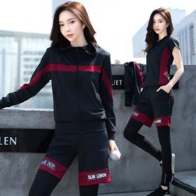 五件套运动套装女加大码瑜伽服跑步套装健身服韩版宽松