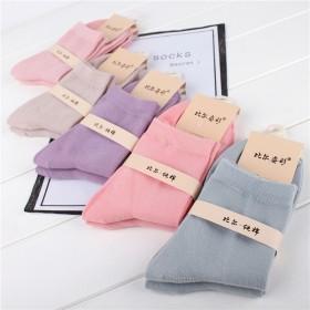 冬季5双女士袜子中筒纯棉袜纯色粮果色保暖防臭吸汗